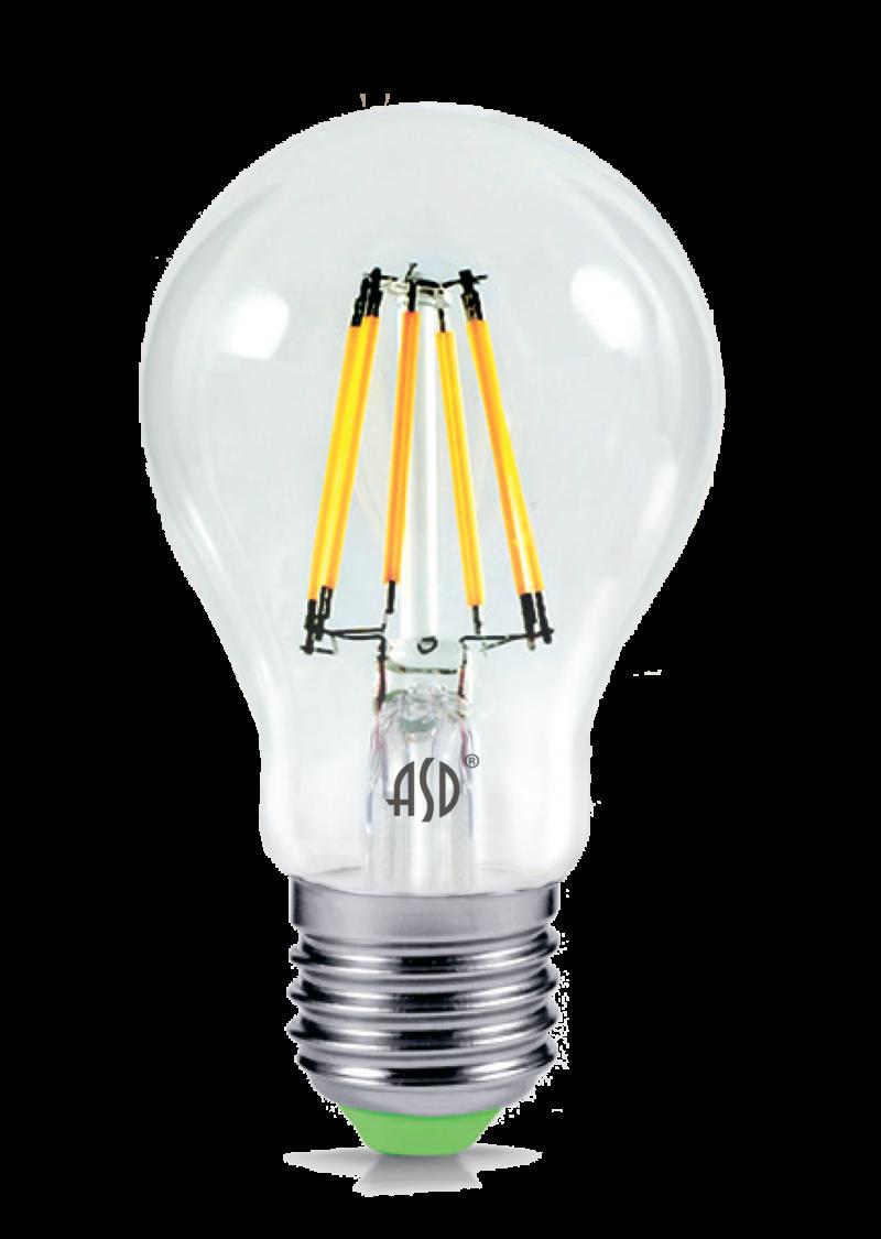 Лампа свд. LED-A60-PREMIUM 8Вт 220В Е27 4000К 720Лм прозрачная ASD